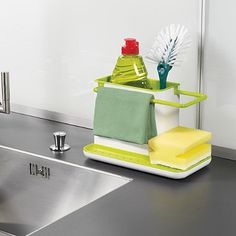 Self draining sink tidy. Kitchen Shelf Sink Storage Self draining Brush Sponge Sink Draining Towel Rack Washing Holder Kitchen Stands Utensils Kitchen Sink Draining Rack Sponge Towel Self Draining Holder Box Storage Rack Kitchen Kitchen Sink Caddy, Kitchen Box, Kitchen Sink Organization, Sink Organizer, Kitchen Utensils, Kitchen Gadgets, Kitchen Storage, Home Organization, Green Kitchen