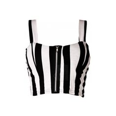 Black White Thick Vertical Stripe Front Zip Bralet (€9,46) ❤ liked on Polyvore featuring tops, crop tops, shirts, bralette crop top, black white top, crop shirts, shirts & tops and vertical stripe shirt