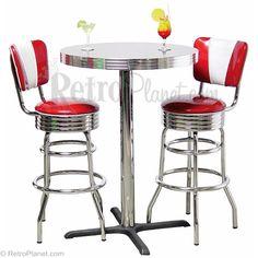 Pub Tables and Stools Set   Retro Furniture   RetroPlanet.com