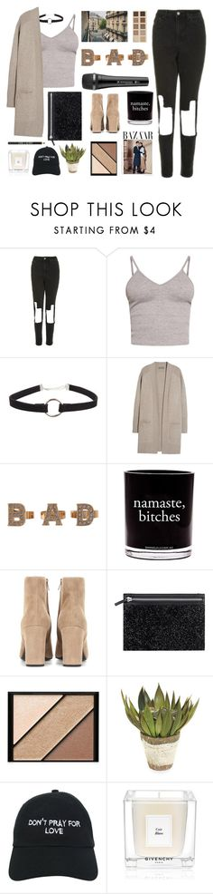 """Untitled #2819"" by tacoxcat ❤ liked on Polyvore featuring Topshop, BasicGrey, N.Peal, LORAC, Rare London, Sennheiser, Damselfly Candles, Yves Saint Laurent, Elizabeth Arden and John-Richard"