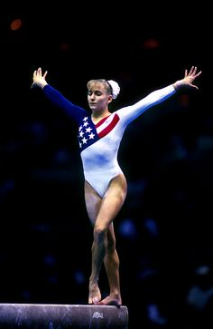 Shannon Miller... Checked off my bucket list to meet a famous Olympian this summer.. She helped me on beam :)