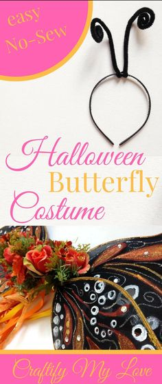 Easy no-sew butterfly costume including antennae for carnival. Learn how to make it. Click now!