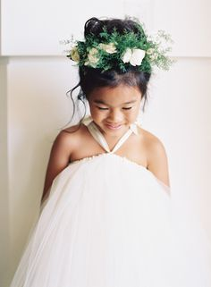 The cutest flower girl crown: Photography : Brandon Kidd Photography Read More on SMP: http://www.stylemepretty.com/2016/07/22/see-what-unlikely-source-inspired-this-wedding/