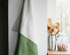 Handmade White Smoke And Green Linen Kitchen Towel Tea Large