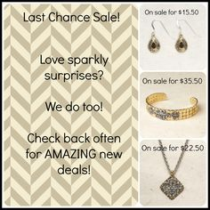 Willow House jewelry has an AMAZING sale going on right now! And its called the Last Chance sale. This sale includes a beautiful pair of earrings that are on sale for $15.50 (originally $40); a cuff that originally costs $99 is on sale for $35.50; and a gorgeous necklace that is on sale for $22.50 that is originally $75. Make sure you come by before they are gone!  http://blessedtreasures.jewelry.willowhouse.com/category.aspx?zcid=348