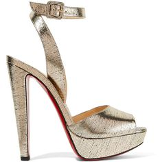 Christian Louboutin Louloudancing metallic leather platform sandals ($860) ❤ liked on Polyvore featuring shoes, sandals, heels, pumps, high heel platform sandals, strappy sandals, ankle wrap sandals, strap sandals and metallic platform sandals
