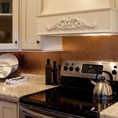 copper tiles for backsplash in kitchen | soothing distressed