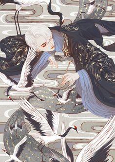 MC inspiration (Voye, but for his black hair) Manga Art, Anime Art, China Art, Image Manga, Fanarts Anime, Boy Art, Pretty Art, Aesthetic Art, Japanese Art
