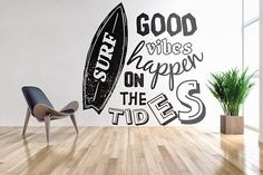 Good vibes happen on the tides...    Price : 45.00 EURO ( S&H if applicable)  ... HashTags : #brutalvisual #brutalvisualstudio #handmade #custom #etsy #customdesigns #brutal #water #wallsticker #inspiringdecal #inspiring #sticker #decal #walldecal #goodvibes #surf #tides #hightide #beach #gift  We all need some time to ourselves (either to relax or to meditate) and to some of us there is not a more perfect place than a beach! Good vibes... good feelings.. relaxing.. chi ... (click on the…