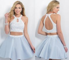 Wholesale beautiful 2015 sexy homecoming dresses halter open back sweet sixteen dress short two pieces prom dress with beads stain party gown olesa, Sexy Homecoming Dresses, Grad Dresses Short, Hoco Dresses, Prom Party Dresses, Pretty Dresses, Formal Dresses, Party Gowns, Short Prom, Sparkly Dresses