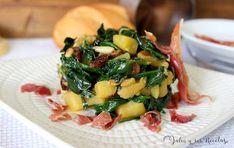 Espinacas salteadas con manzana, piñones y pasas. Julia y sus recetas