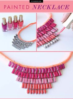 DIY Crafts Using Nail Polish - Fun, Cool, Easy and Cheap Craft Ideas for Girls, Teens, Tweens and Adults | Upcycled Necklace with Nail Polish