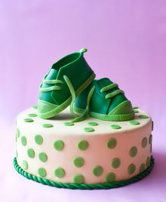 cake with fondant baby shoes