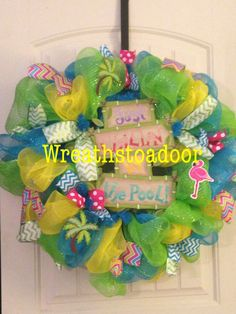 Summer mesh wreath www.facebook.com/wreathstoadoor