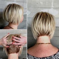 70 Overwhelming Ideas for Short Choppy Haircuts bob with nape undercut – if you ever grow your hair out, remember it's only about an inch long underneath. Medium Short Hair, Short Hair Cuts, Short Hair Styles, Pixie Cuts, Chopped Haircut, Short Choppy Haircuts, Choppy Bangs, Pixie Haircuts, Undercut Hairstyles Women