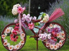 Spring journey - bike, flowers, spring, decorated