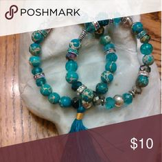 Turquoise Gemstones with Tibetan Silver Hesrts Silver Buddha Beads Colorful Crystals by Leisa Honeylambjewelry Jewelry Bracelets