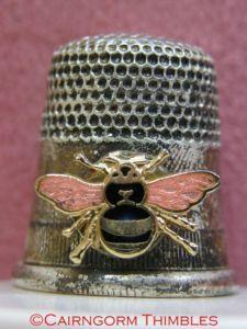 Silver Coloured Metal Thimble Enamel Bee Bumblebee