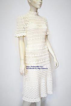 http://knitandfit.com/ Crochet dress. Handmade. Платье крючком. Летнее ажурное платье ручной работы.