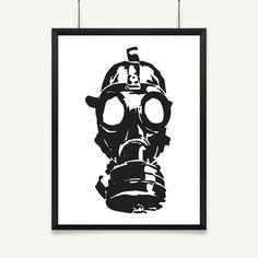 Gas Mask | Instant Download | Printable Art | Gas Mask Print | Grunge Art | Military Poster | Wall Art | Home Decor | Black & White Print