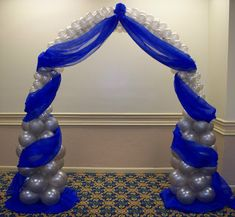 Party People Celebration Company - Special Event Decor Custom Balloon decor and Fabric Designs: Royal Blue and Silver Wedding