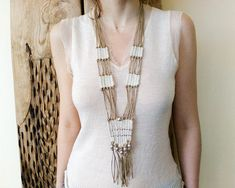 Long woven beaded necklace, fiber tapestry weaving neck piece, statement ethnic tribal jewelry, gypsy boho wedding , unique gifts for women Fabric Necklace, Fringe Necklace, Tribal Necklace, Tribal Jewelry, Beaded Necklace, Fiber Art Jewelry, Textile Jewelry, Fabric Jewelry, Jewelry Art