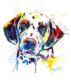 Colorido Dalmation perro arte Print impresión de mi pintura
