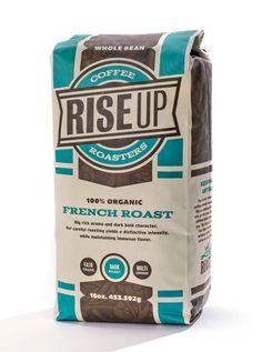 Rise Up Organic Coffee | #packaging #coffee #organic