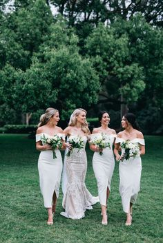 White Connelly Midi Bridesmaids By White Runway   Samantha the gorgeous bride dressed her bridesmaids in white Connelly Midi bridesmaids dresses. The Connelly Midi is a gorgeous midi length dress by Tinaholy. An off shoulder style featuring a crossover hemline with short split.