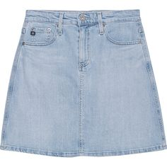 AG Jeans Ali Light Blue // Denim skirt in a-line ($255) ❤ liked on Polyvore featuring skirts, bottoms, clothes - skirts, summer skirts, a line denim skirt, flared denim skirt, high waisted flare skirt and light blue skirt