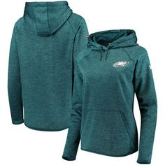 Philadelphia Eagles Under Armour Women's Combine Authentic Novelty Tonal Twist Armour Fleece Pullover Hoodie - Midnight Green