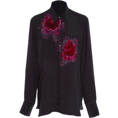 Figue     Beaded Emmanuelle Tux Shirt (5,970 CNY) ❤ liked on Polyvore featuring tops, black, beaded top, tuxedo dress shirt, button front top, floral silk top and beaded silk top