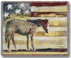 This patriotic inspired Red, White, and Blue Horse Tapestry Throw is sure to please anyone with western decor.