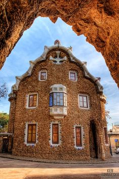 House in Park Güell designed by Antoni Gaudi, Barcelona, Spain