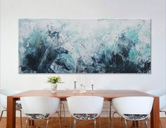painting Large Abstract Painting- hidden treasures II -Original seascape Painting blue art 72x30 Elena Unstretched