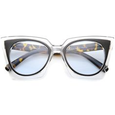 853842e6939 Women s Fashion Two-Tone Crystal Clear Edged Cat Eye Sunglasses 51mm Clear  Sunglasses