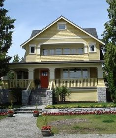 Yellow House Red Door Black Shutters yellow house with gray shutters | yellow house with red door and