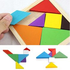 Wooden Rainbow Color Tangram DIY Wood Puzzle Kid Educational Toy -- BuyinCoins.com