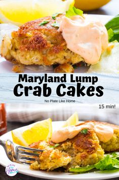 Make this delicious crab cake recipe in 15 min! You can make quality crab cakes at home with canned crab meat with this easy recipe. Maryland Lump Crab Cakes with Spicy Tarter Sauce are made with Old Bay Seasoning, Worcestershire Sauce, bread crumbs and o Crab Cakes Recipe Best, Lump Crab Meat Recipes, Homemade Crab Cakes, Canned Crab Meat, Crab Cake Recipes, Best Seafood Recipes, Fish Recipes, Appetizer Recipes, Seafood Appetizers