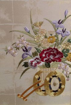 Judy Souliotis' Oriental Flower Cart - Silk & Metal on patterned silk Chinese Embroidery, Hand Embroidery Patterns, Embroidery Art, Embroidery Stitches, Embroidery Designs, Japanese Bird, Japanese Fabric, Oriental Flowers, Flower Cart