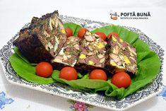Reteta de drob mozaic din carne si ficat de pui sau curcan Romanian Food, Food And Drink, Easter, Beef, Breakfast, House, Ideas, Home, Meat