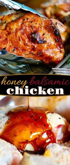 Easy Glazed Honey Balsamic Chicken is your 4 ingredient answer to busy weeknights. Tender, juicy chicken coated with a simple and delicious honey balsamic glaze that is ready to go in just about 20 minutes. It just doesn't get any better or easier than this. // Mom On Timeout #chicken #recipe #dinner #roasting #easy #easydinner #honey #balsamic Honey Balsamic Glaze, Honey Balsamic Chicken, Balsamic Chicken Recipes, Balsamic Glazed Chicken, Honey Recipes, Healthy Chicken Recipes, Turkey Recipes, Cooking Recipes, Balsalmic Glaze Recipe