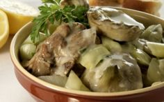 Lamb with onions and artichokes (Arnaki me anginares) - iCookGreek Kitchen Recipes, Snack Recipes, Cooking Recipes, Snacks, Lamb Dishes, Tasty Dishes, Eat Greek, Greek Cooking, World Recipes