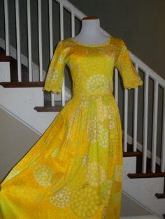 Size Medium Yellow Printed Maxi Dress by MahoganyBleu on Etsy