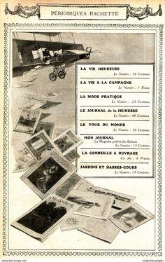 Werbung - Original-Anzeige / Publicité 1910 - (en français) PERIODIQUES HACHETTE / MOTIF AVION - ca. 140 x 220 mm