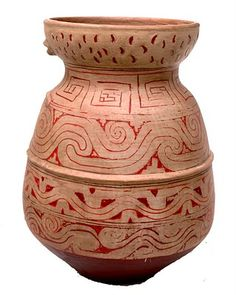 Clay pottery of indigenous island of Marajo, the marajoaras.
