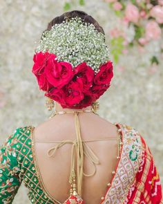 Pretty Hairstyle for Traditional Bride 👰 Bridal Buns with Roses and baby's breath are our favorite 👍 Like this page for more beautiful Wedding Hairstyle Images, Bridal Hairstyle Indian Wedding, Indian Wedding Bride, Bridal Hair Buns, Bridal Hairdo, Indian Wedding Hairstyles, Indian Bridal Makeup, Bride Hairstyles, Indian Bride Hair