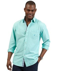 Nautica Shirt, Long Sleeve Plaid Shirt - Mens Casual Shirts ...