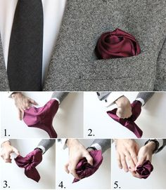 How To Fold a Pocket Square: The Flower Fold Valentine's Day men Sharp Dressed Man, Well Dressed Men, Pliage Pochette Costume, Pocket Square Folds, Mens Pocket Squares, How To Pocket Square, Pocket Square Styles, Men Style Tips, Suit And Tie