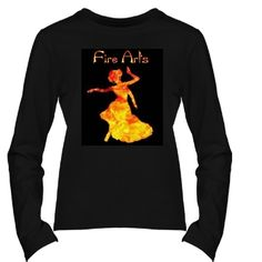 Fire Arts Siren | Dancers playing with fire! Gorgeous fire design on siren dancer silhouette. 100% cotton shirt, close fit. Flame logo on back.  Please light up responsibly.  Fire Arts Siren is from our Siren Collection. In mythology, the sirens were dangerous, yet beautiful creatures with enchanting music and voices. They were the daughters of Terpsichore, the muse of dance. Look for more in this Collection. Samira's love of design and art, is combined with her dance career and knowl...